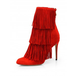 Red Fringe Boots Pointy Toe Suede Stiletto Heels Suede Ankle Booties