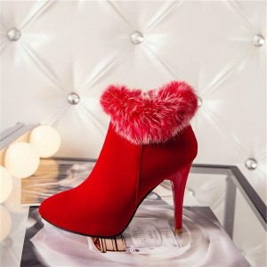 Red Furry Stiletto Heel Ankle Booties