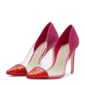Red Glitter Clear PVC Stiletto Heels Pumps