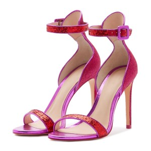 Orchid Glitter Stiletto Heel Ankle Strap Sandals