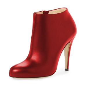 FSJ Red Heeled Boots Chunky Heel Fashion Work Ankle Booties