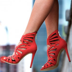 Red Laser cut Hollow out Stiletto Heels Sandals