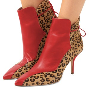 Red and Leopard Booties Pointy Toe Back Lace up Haircalf Ankle Boots