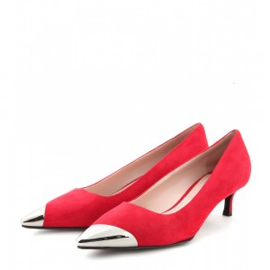Red Kitten Heels Silver Pointed Toe Heel Pumps Dress Shoes for Women