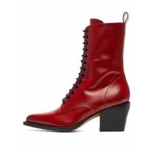Red Lace Up Boots Block Heel Ankle Boots