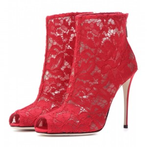 Red Lace Wedding Shoes Peep Toe Stiletto Heels Ankle Summer Boots