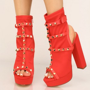 Red Lycra Rivets Platform Boots Peep Toe Chunky Heel Ankle Boots