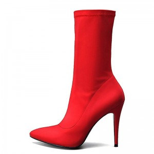 Red Lycra Zip Sock Boots Pointed Toe Stiletto Heel Mid Calf Boots