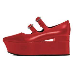 Red Mary Jane Buckles Platform Heel Pumps