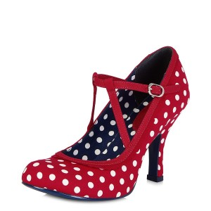 Red Mary Jane Pumps Lolita Polka Dot Round Toe Comfortable Shoes
