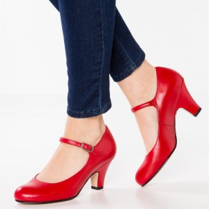 Red Mary Jane Pumps Round Toe Cone Heels Office Shoes