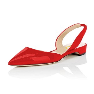 Red Metallic Slingback Shoes Pointy Toe Comfortable Flats