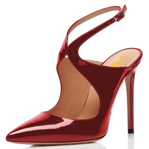 Red Mirror Leather Slingback Pumps Stiletto Heel Pointy Toe