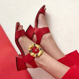 Red Open Toe Chunky Heel Sandals with Gold Buckle