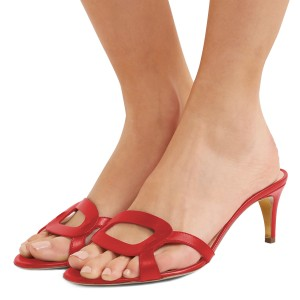 Red Open Toe Kitten Heels Mules