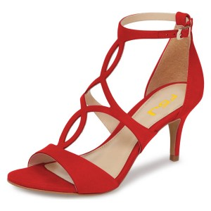 Red Open Toe Stiletto Heels Hollow out Ankle Strap Sandals