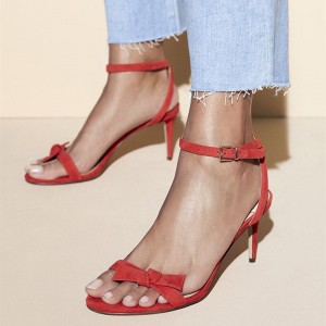Red Open Toe Stiletto Heels Sandals with Bow