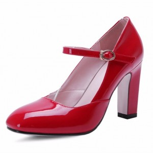 Red Mary Jane Pumps Chunky Heels Vintage Shoes for Women