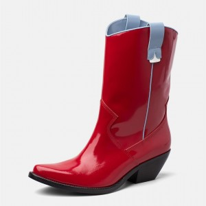 Red Western Boots Patent Leather Pointy Toe Chunky Heel Mid Calf Boots