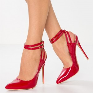Red Patent Leather Closed Toe Ankle Strap Heels Slingback Pumps