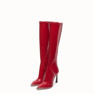Red Patent Leather Fashion Boots Chunky Heel Boots