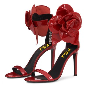 Red Patent Leather Flower Embellished Ankle Strap Evening Shoes