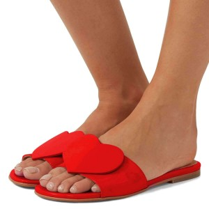 Red Patent Leather Heart Women's Slide Sandals