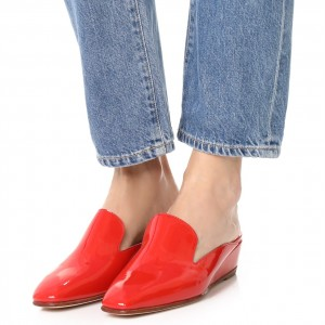 Red Patent Leather Mule Square Toe Wedge Heels Loafers for Women