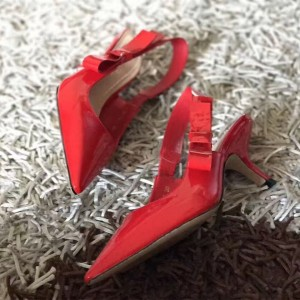 Red Patent Leather Slingback Heels Pointy Toe Pumps with Bow