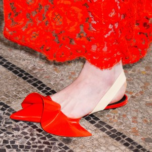 Red Patent Leather Slingback Shoes Ruffles Pointed Toe Flats