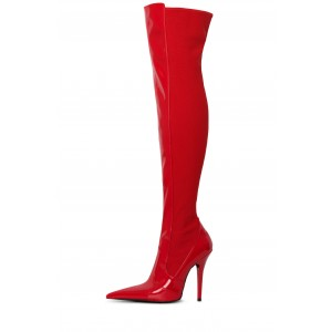Red Patent Leather Stiletto Boots Pointed Toe Over the Knee Boots