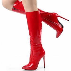 Red Patent Leather Stiletto Boots Pointed Toe Knee High Boots