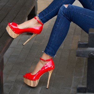 Coral Red Ankle Strap Heels Patent Leather Platform Stiletto Pumps