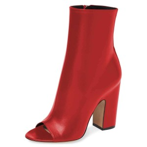 Red Peep Toe Booties Chunky Heel Ankle Boots