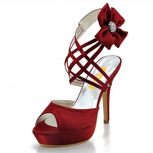 Burgundy Evening Shoes Satin Peep Toe Stiletto Heel Sandals