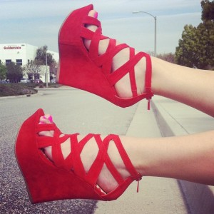 Red Peep Toe Wedge Sandals Hollow out Ankle Strap Sandals