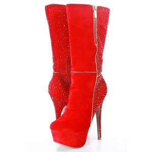 Red Platform Rhinestone Stiletto Heel Wide Calf Boots