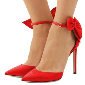 Red Pointy Toe Bow Ankle Strap Heels Pumps