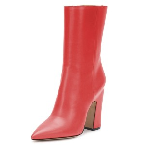 Red Pointy Toe Chunky Heel Boots Fashion Ankle Booties with Zipper