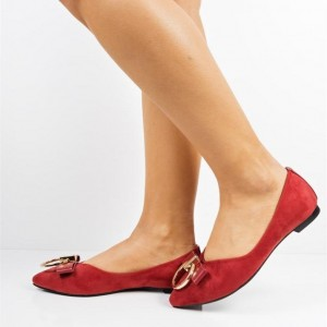 Red Pointy Toe Flats Comfortable Shoes with Bow