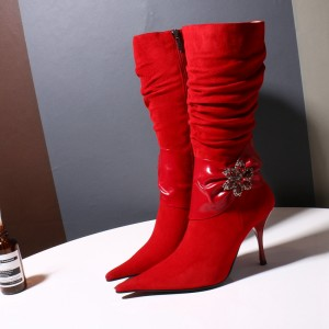 Red Pointy Toe Flower Rhinestone Decorated Stiletto Heel Slouch Boots