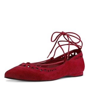 Red Pointy Toe Hollow out Comfortable Flats Strappy Ballet Shoes