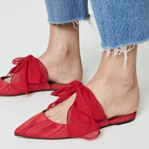Red Pointy Toe Flats Bow Mule