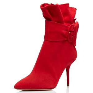 Red Pointy Toe Ruffle Buckle Stiletto Heels Ankle Booties