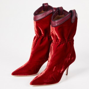 Red Velvet Western Boots Pointy Toe Fashion Mid Calf Boots