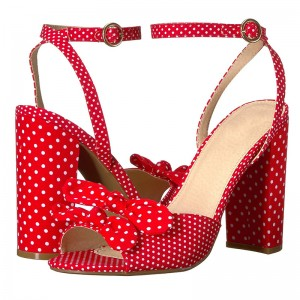 Red Polka Dots Bows Chunky Heels Ankle Strap Sandals