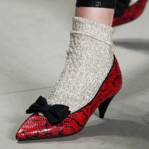 Red Python Pointed Toe Bow Heels  Low-cut Upper Cone Heel Pumps