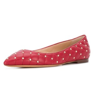 Red Quilted Studs Shoes Pointy Toe Comfortable Flats