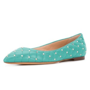 Cyan Quilted Studs Shoes Pointy Toe Comfortable Flats