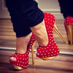 Red Rivets Peep Toe Platform Heels Sexy High Heel Pumps